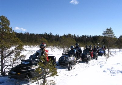 Snowmobile safari in Estonian countryside