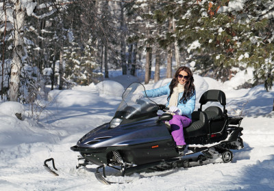 Winter fun on snowmobile